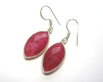 Raw Ruby Marquis Earrings.  Genuine Ruby Earrings. Bezel Set Ruby Earrings. Birthstone Earrings.
