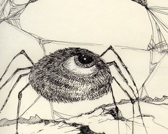 Gothic 5 x 7 print black and white spider eyeball art drawing Halloween spooky surreal dream nightmare fantasy art reproduction pen and ink