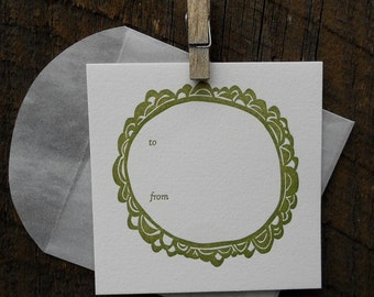 Gift Tags -- Pine on white