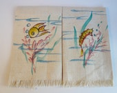 Hand Painted Vintage Mid Century Fingertip Bath Towels Fish Seahorse