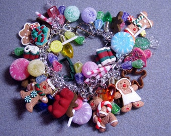 The ORIGINAL Candyland Gingerbread Christmas LOADED Charm Bracelet- Cookies, Candy, Mints, Lollipops and More! #1
