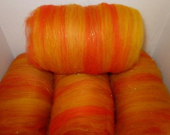Merino Angleina and Firestar Fibre Batts (Fall Sunset) 3 oz 86 grams