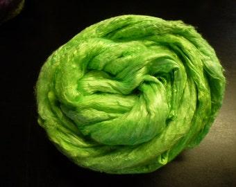 Neon Green Lizard King  Hand Dyed Mulberry Silk Top 4 Ounces
