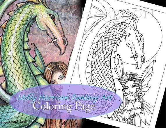 Fairy and dragon digital stamp printable adult coloring for Fairy and dragon coloring pages
