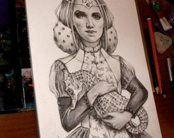 Sea Guardian - original pencil drawing illustration art by Tanya Bond - pop surrealism portrait seahorse lady fantasy dress