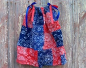 Red White & Blue Toddler Dress or Girl's Tunic Top ONE SIZE Fits All from 18 months to girl's 10