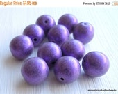 25% OFF Summer Sale Czech Picasso Beads . Czech Glass Beads . Round Beads 10mm : Metallic Suede - Purple (G - 273)