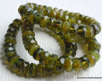 Picasso Czech Glass Beads Czech Rondelle Beads 3x5mm Olivine Picasso - 30 pcs (G - 178)