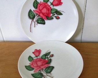 2 vintage rose melmac snack plates