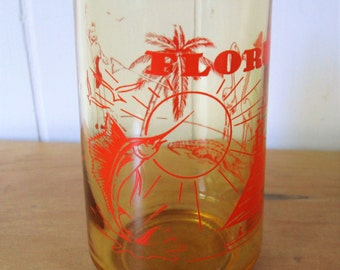 vintage Florida state souvenir amber juice glass