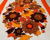 Vintage Kitsch Tea Towel - Pristine Condition - Orange Yellow and Brown Floral Display