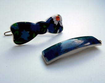 Vintage Barrette - Pair of Plastic Printed Hair Clips - 60s - as new - Made in France