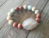 Aqua Terra Jasper and Agate Bracelet, Gemstone Bracelet, Boho Chic Jewelry