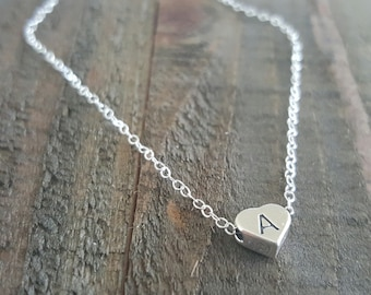 Sterling Silver Initial Heart Necklace, Initial Necklace, Bridal Jewelry, Monogram Necklace