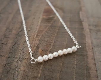 Tiny Pearl Sterling Silver Necklace, Pearl Necklace, Bridal Jewelry, Bridesmaid Necklace