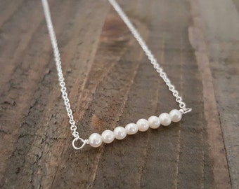 Tiny Freshwater Pearl and Sterling Silver Necklace, Bridal Jewelry