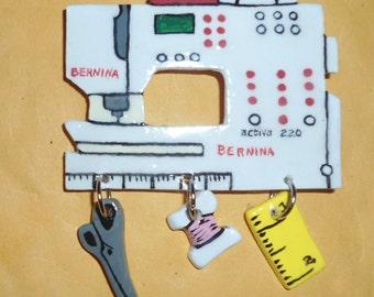 Bernina activa 220 Sewing Machine Pin Pin, Broach, Decorative Jewelry, stylish pin, sewing motif, collectible, unique sewing machine pin