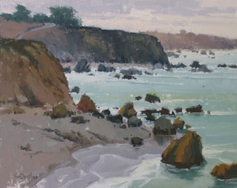 Quiet Shores - Original Impressionist Style Oil Painting of the Beach - Bodega Bay - California Beach Painting - Living Room Decor