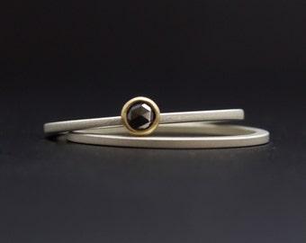 Rose Cut Diamond Ring Set - Black Diamond Engagement Ring Set - Bezel Set in 18 Karat Yellow Gold - Set of Sterling Stack Rings with Diamond