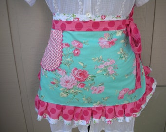 Aprons - Aprons with Roses - Pink Rose Apron - Cottage Chic Aprons - Pink Rose Apron - Annies Attic Aprons