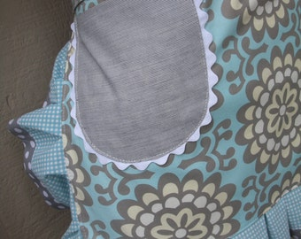 Women Aprons - Amy Butler Apron - The Wall Flower Apron -  Handmade Apron - Annies Attic Aprons - ETSY Aprons - Blue Aprons - Grey Aprons -