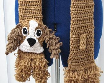 Crochet Pattern - Cockerspaniel Dog Scarf -  Lps Spaniel - Men's Scarf - Dog Lover Gift - Women's Scarves - Animal Pattern - Crochet Scarf