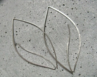 Modern oversized leaf earrings, statement open silver hoops, minimalist thread through silver earrings