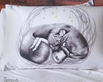 Platypus pillowcase with boy, facing left. Australian gift with original art by flossy-p.