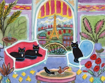 ORIGINAL PAINTING, 3 Black Cats at the Best Hotel in Paris, Crow Towing Chipmunk in One Horse Open Cupcake with Fresh Poppies, D M Laughlin
