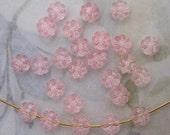 72 pcs. vintage plastic pink flower beads 6x3mm Hong Kong - f4894
