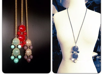 Chandelier Bubble Necklace - Double Chandelier -Statement Necklace - Solid Brass Chain- red blue grey - gift idea for her