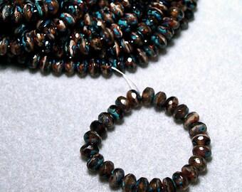 Marbled Beige Picasso- thru cut Czech glass beads