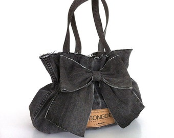 Bow purse Recycled bow bag Gray handbag Denim purse Vegan fabric handbag  Bow bag Upcycled clothing  Girls bag Denim bag Teens handbag