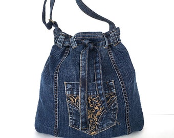Recycled bucket bag, Denim drawstring bag, Jean crossbody bag,Upcycled side purse, Teens travel bag, Veagn fashion, Denim weekend tote purse