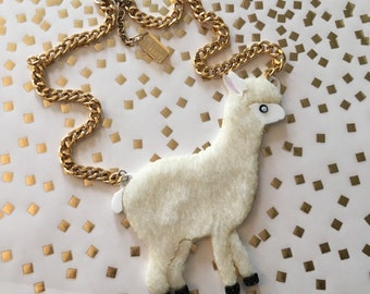 Alpaca Fur Laser Cut Acrylic Necklace