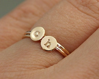 Two Gold Initial Rings , Personalized Gold Rings, Tiny Gold Rings