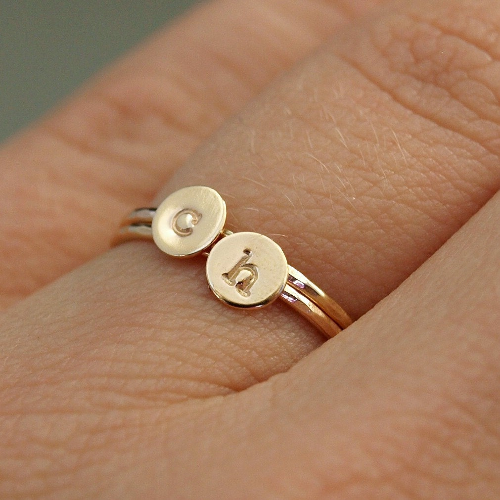 two gold initial rings personalized gold rings tiny gold