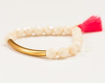 Beaded Bracelet with Pink Tassel, Beaded Stretch Beaded Stretch Bracelet, Tassel Bracelet