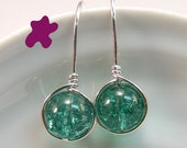 Green Crackle Quartz Round dangle earrings Sterling Silver