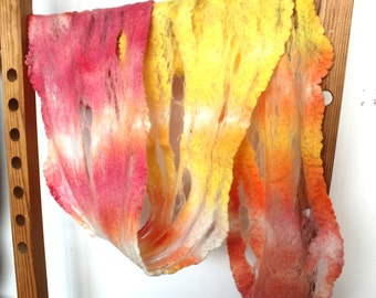 Cobweb Felt Scarf Merino Wool Hand Dyed