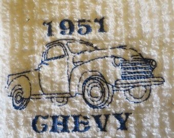 1951 Chevy  Truck Blue Embroidered Vintage truck On White Dish Towel