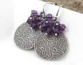 Crystal Dangle Earrings Silver Earrings Purple Crystal Cluster Earrings Holiday Gift for Her Bohemian Jewelry Handmade Jewelry - Lily