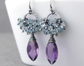 Cluster Earrings Blue Topaz Earrings Amethyst Earrings Silver Dangle Earrings Modern Jewelry Unique Silver Jewelry Gift for Her - Beth