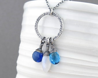 Gemstone Pendant Necklace Silver Layering Necklace Sterling Silver Jewelry Blue Necklace Gemstone Jewelry Handmade Necklace - Rachel