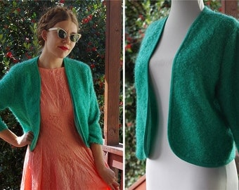 TURQUOISE 1950's 60's Vintage Bright Teal Bouclé Knit Wool + Mohair Cardigan Sweater // by GLENTEX // size Medium Large