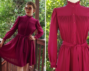 Deep PLUM 1970's Vintage Victorian Style Polyester Dress w/ Ruffled Collar and Long Sleeves // size Small Med // by NEW Discoveries