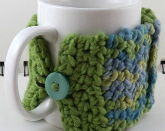 Crocheted Coffee or Ice Cream Cozy with Pocket in Greens and Blues with Aqua Button (SWG-E14)