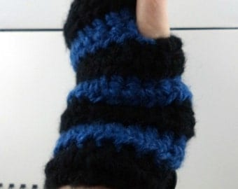 Black and Blue Striped Crocheted Wrist Warmers (size M-L) (SWG-WW-MJ08)