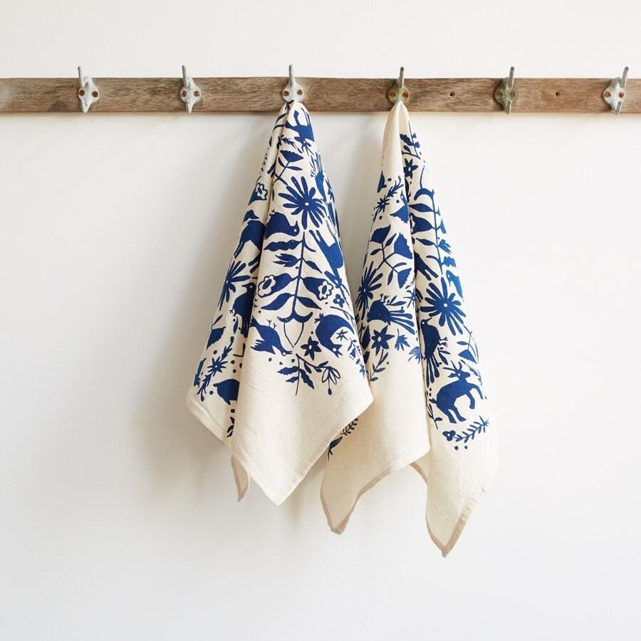 Tea Towels Printed For Schools: Otomi Screen-Printed Tea Towels By Appetite On Etsy