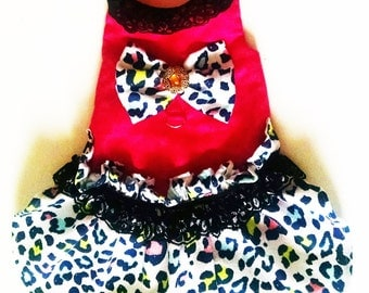 Harness Dress Flintstone Style Dog Clothes collar yorkie chihuahua ckcspaniel pekinese lhasa apso pug  Custom fit upon request